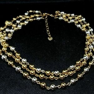 Talbots Silver Gold Heavy Metal Ball Bead Necklace